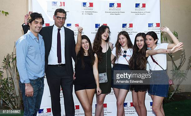 Producer Charles Gillibert the Consul General of France in Los Angeles Christophe Lemoine and actresses Doga Zeynep Doguslu Tugba Sunguroglu Ilayda...
