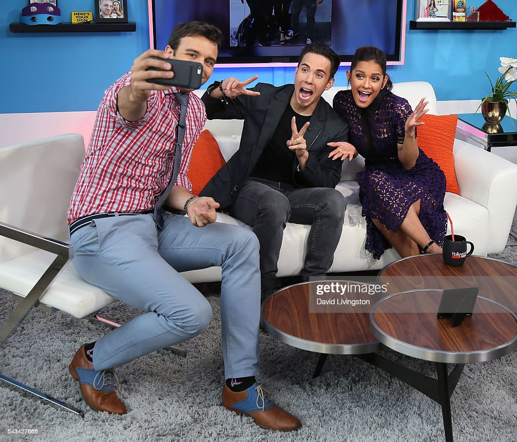 Producer Charlie Ebersol, Olympian Apolo Ohno and TV personality Rocsi Diaz pose for a selfie at Hollywood Today Live at W Hollywood on June 28, 2016 in Hollywood, California.