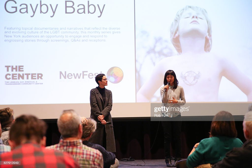 Producer Charlotte Mars (L) and director Maya Newell give an introduction at the screening of 'Gayby Baby' at the LGBT Community Center on May 1, 2016 in New York City.