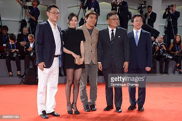 Producer Choi JaeWon director and producer Kim Jiwoon jury member Moon Sori and guest cast members of 'The Age Of Shadows' attend the premiere of...
