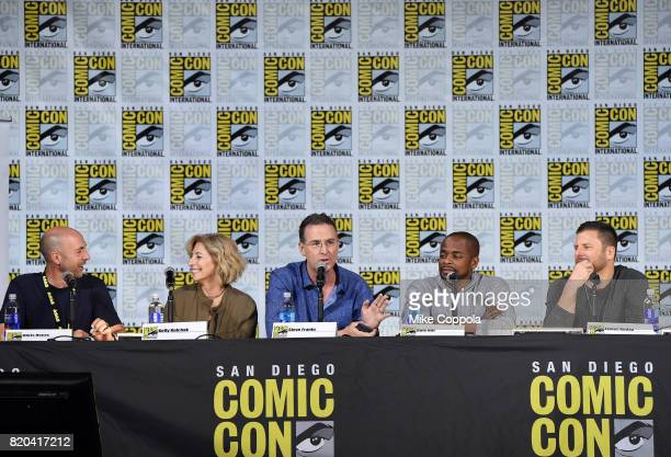Producer Chris Henze executive producer Kelly Kulchak writer/producer Steve Franks actor Dule Hill and actor James Roday speak onstage at the 'Psych'...