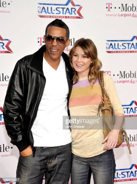 Producer Chris Ivery and actress Ellen Pompeo arrive at the TMobile Magenta Carpet at the 2011 NBA AllStar Game at LA Live on February 20 2011 in Los...