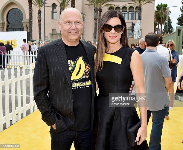 Producer Chris Meledandri and actress Sandra Bullock arrive at the premiere of Universal Pictures and Illumination Entertainment's 'Minions' at the...