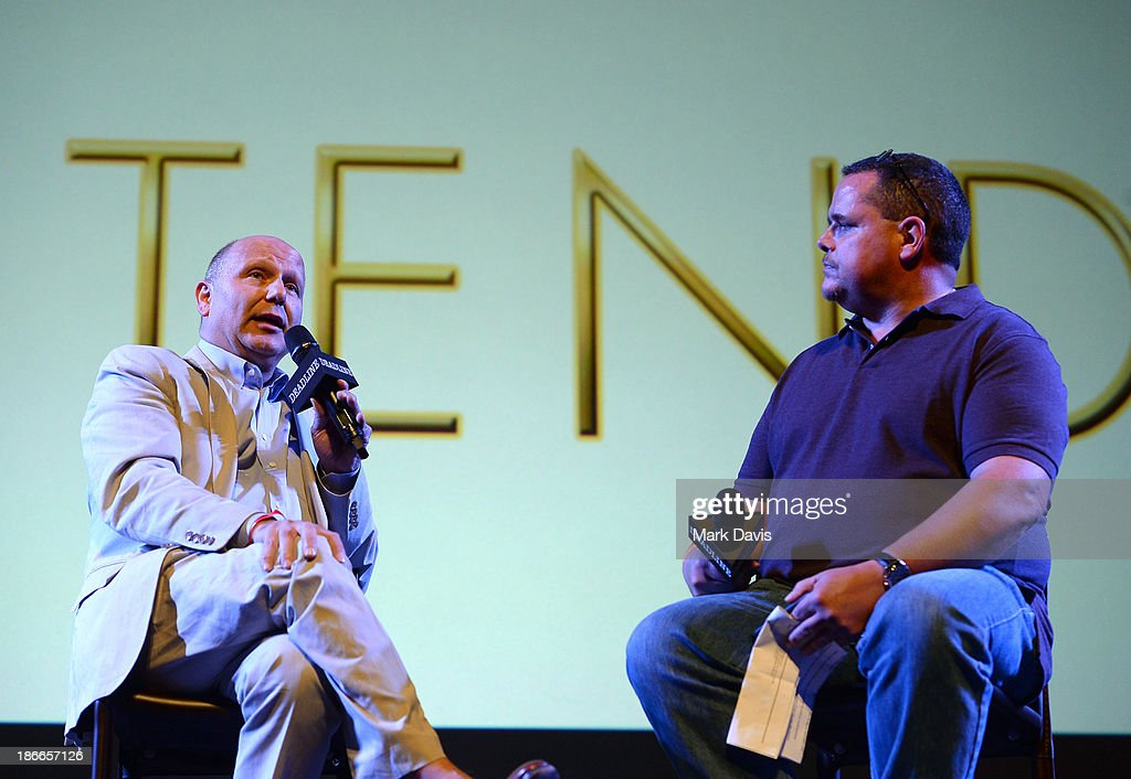 Producer Chris Meledandri (L) of Universal Pictures and moderator Mike Fleming speak onstage during Deadline Hollywood's The Contenders on November 2, 2013 in Beverly Hills, California.