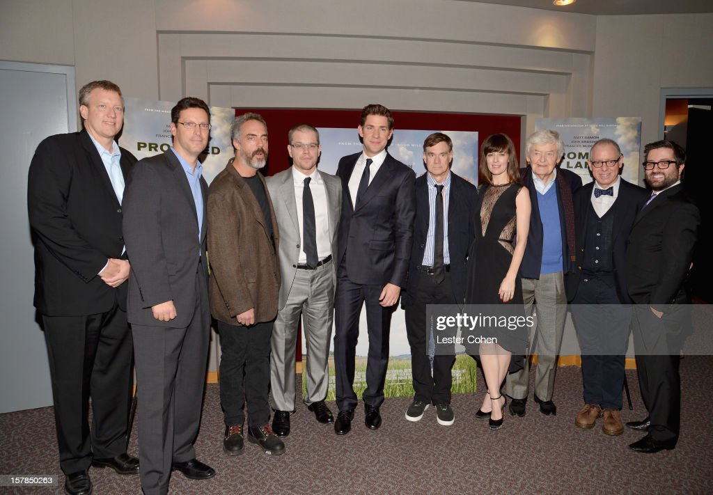 Producer Chris Moore, President of Focus Features Andrew Karpen, actor Titus Welliver, actor Matt Damon, actor John Krasinski, director Gus Van Sant, actress Rosemarie DeWitt, actor Hal Holbrook, CEO of Focus Features James Schamus and producer Mike Sablone attend the ''Promised Land' Los Angeles premiere at Directors Guild Of America on December 6, 2012 in Los Angeles, California.