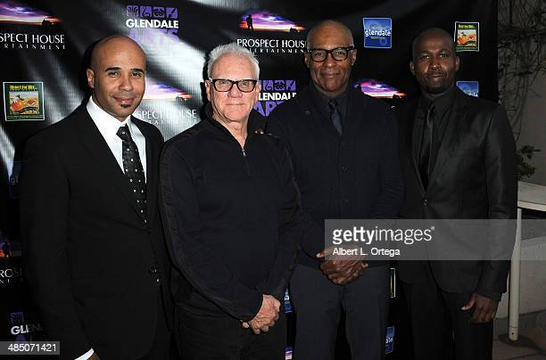 Producer Chris Roe actors Malcolm McDowell Michael Dorn and producer Tegan Summer attend the Malcolm McDowell Series Of QA Screenings for 'Star Trek...