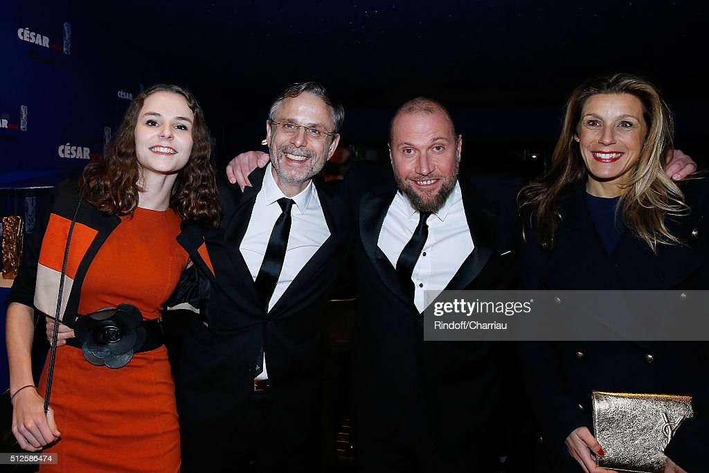 Producer Christophe Rossignon and his daughter Louise, Actor Francois Damiens and his wife Gaelle attend the Cesar Film Award 2016 at Theatre du Chatelet on February 26, 2016 in Paris, France.