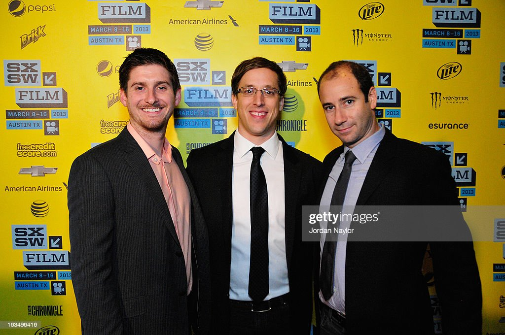 Producer Christopher Leggett, director Josh Greenbaum and producer Rafael Marmor pose in the greenroom at the screening of 'The Short Game' during the 2013 SXSW Music, Film + Interactive Festival at Stateside Theater on March 10, 2013 in Austin, Texas.