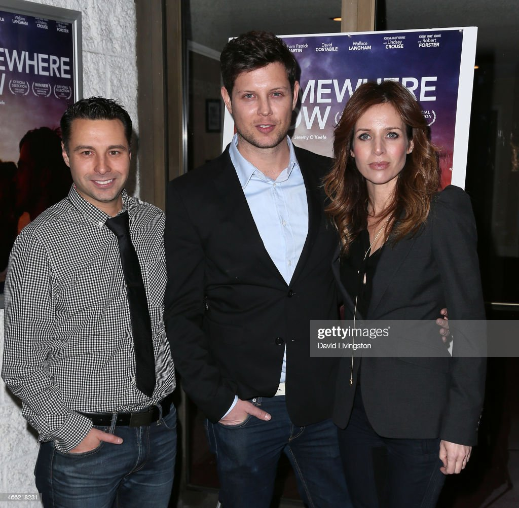 Producer Christopher Sepulveda, writer/director Jeremy O'Keefe and actress <a gi-track='captionPersonalityLinkClicked' href=/galleries/search?phrase=Jessalyn+Gilsig&family=editorial&specificpeople=793163 ng-click='$event.stopPropagation()'>Jessalyn Gilsig</a> attend a screening of Logolite Entertainment & Screen Media Films' 'Somewhere Slow' at Arena Cinema Hollywood on January 31, 2014 in Hollywood, California.