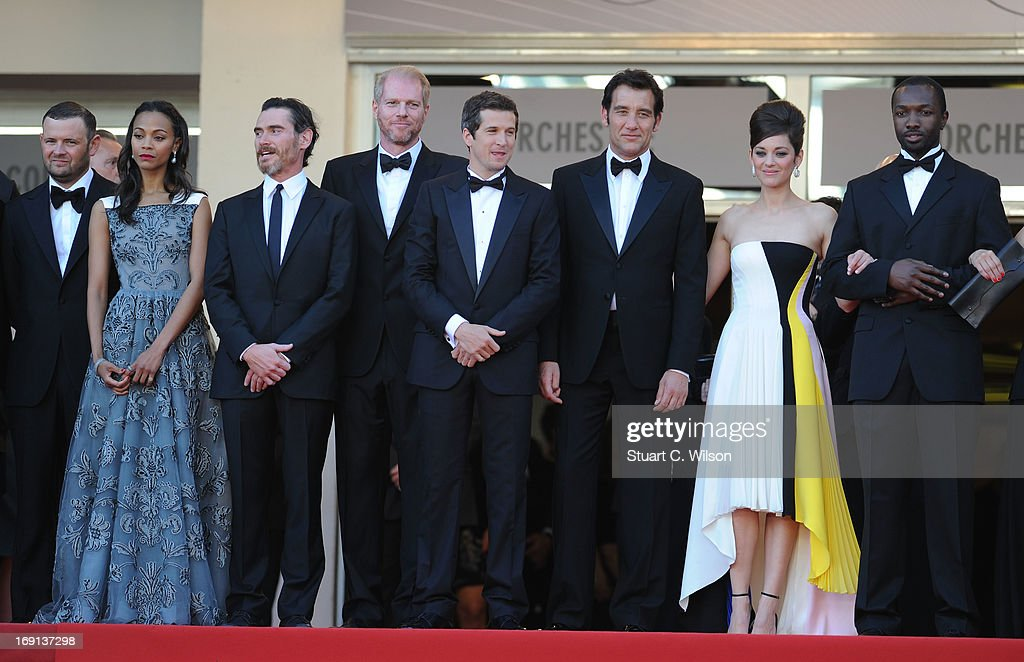 Producer Christopher Woodrow, actors Zoe Saldana, Billy Crudup and Noah Emmerich, director Guillaume Canet, actors Clive Owen, Marion Cotillard, Jamie Hector attend the 'Blood Ties' Premiere during the 66th Annual Cannes Film Festival at the Palais des Festivals on May 20, 2013 in Cannes, France.