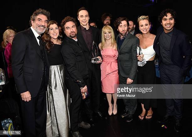 Producer Chuck Lorre actors Mayim Bialik Johnny Galecki Jim Parsons Allison Janney Melissa Rauch Simon Helberg Kaley Cuoco and Kunal Nayyar attend...