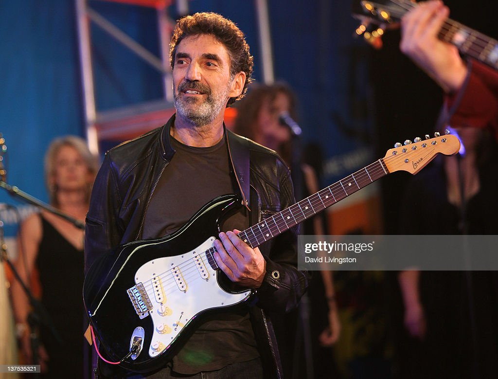 Producer Chuck Lorre performs on stage with Band From TV at the 110th NAMM Show - Day 3 at the Anaheim Convention Center on January 21, 2012 in Anaheim, California.