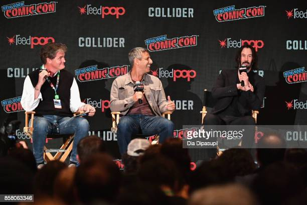 Producer Clark Peterson Jeffrey Nachmanoff and Keanu Reeves discuss Replicas during the 2017 New York Comic Con Day 1 on October 5 2017 in New York...