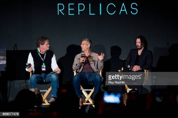 Producer Clark Peterson Jeffrey Nachmanoff and Keanu Reeves discuss 'Replicas' during 2017 New York Comic Con Day 1 on October 5 2017 in New York City