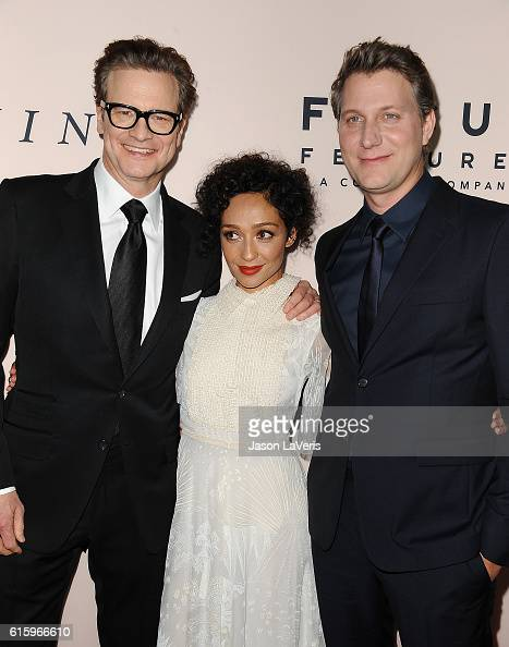 Producer Colin Firth actress Ruth Negga and director Jeff Nichols attend the premiere of 'Loving' at Samuel Goldwyn Theater on October 20 2016 in...