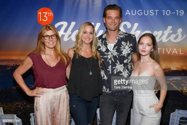 Producer Connie Britton director Julia Barnett actor Christopher Backus and actress Jolie Vanier attend the Primetime Short Films series during the...