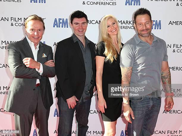 Producer Craigar L Grosvenor actor/director Timothy Woodward Jr Kristine Kreska and actor Johnny Messner attend The 2014 American Film Market at the...