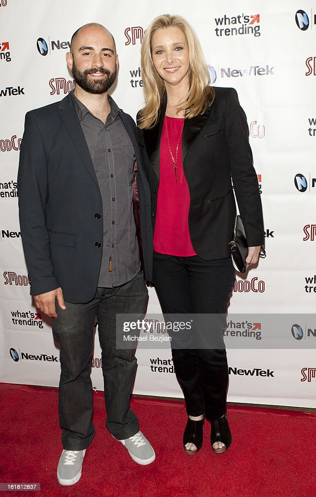 Producer Damon Berger and actress <a gi-track='captionPersonalityLinkClicked' href=/galleries/search?phrase=Lisa+Kudrow&family=editorial&specificpeople=202079 ng-click='$event.stopPropagation()'>Lisa Kudrow</a> attend The Future Of Online Television at What's Trending Studios on February 15, 2013 in Los Angeles, California.