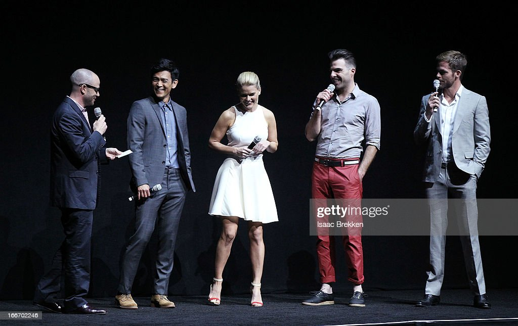 Producer Damon Lindelof (L-R) speaks with actors John Cho, Alice Eve, Zachary Quinto and Chris Pine at a Paramount Pictures presentation to promote their upcoming film, 'Star Trek Into Darkness' during CinemaCon at The Colosseum at Caesars Palace on April 15, 2013 in Las Vegas, Nevada.
