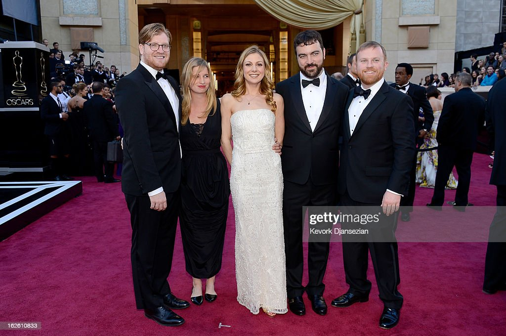 Producer Dan Janvey guest Lucy Alibar Josh Penn and Michael Gottwald arrive at the Oscars at Hollywood Highland Center on February 24 2013 in...