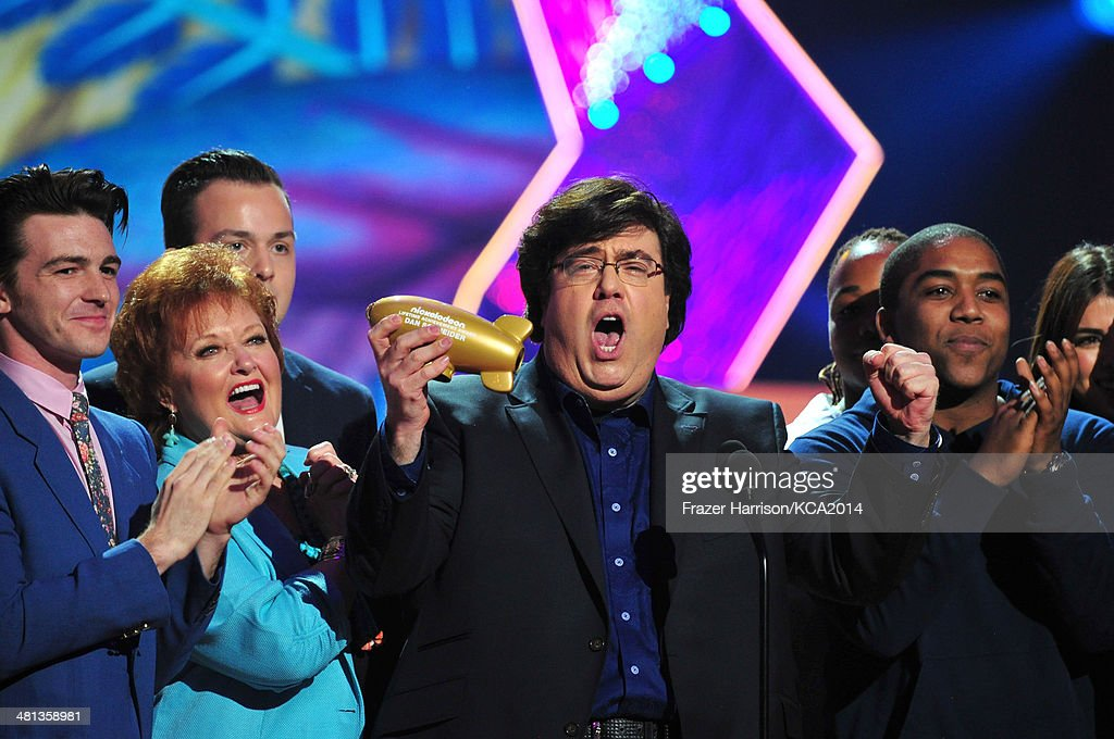 Producer Dan Schneider accepting the Nickelodeon Lifetime Achievement Award onstage during Nickelodeon's 27th Annual Kids' Choice Awards held at USC Galen Center on March 29, 2014 in Los Angeles, California.