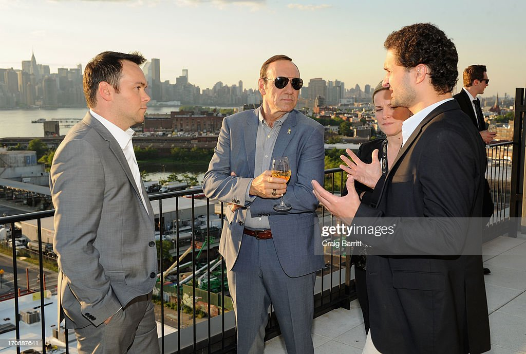 Producer <a gi-track='captionPersonalityLinkClicked' href=/galleries/search?phrase=Dana+Brunetti&family=editorial&specificpeople=566513 ng-click='$event.stopPropagation()'>Dana Brunetti</a> and actor <a gi-track='captionPersonalityLinkClicked' href=/galleries/search?phrase=Kevin+Spacey&family=editorial&specificpeople=202091 ng-click='$event.stopPropagation()'>Kevin Spacey</a> (C) attend the premiere of Love's Routine, the winning US film from the Trigger Street Productions Presents Jameson First Shot competition at the Wythe Hotel on June 19, 2013 in Brooklyn, New York.
