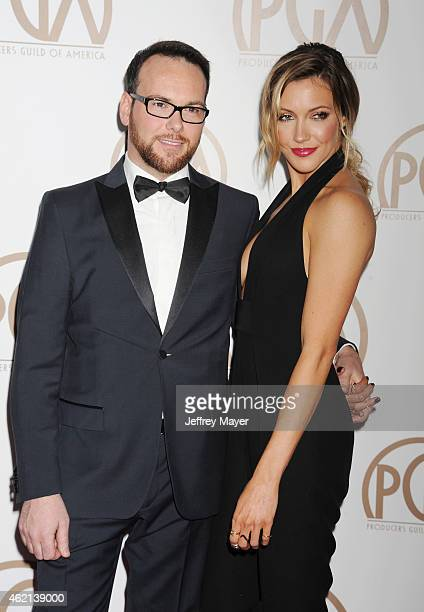 Producer Dana Brunetti and actress Katie Cassidy arrive at the 26th Annual Producers Guild Of America Awards at the Hyatt Regency Century Plaza on...