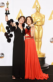 Producer Dana Perry and director Ellen Goosenberg Kent winners of the Best Documentary Short Award for 'Crisis Hotline Veterans Press 1' pose in the...