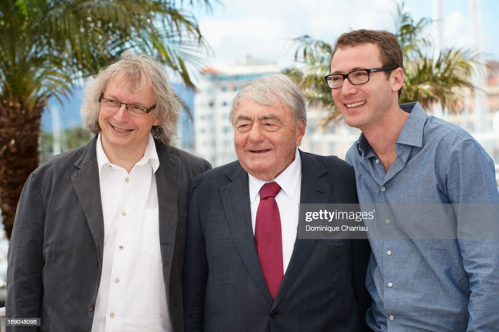 Producer DannyKrausz, director <a gi-track='captionPersonalityLinkClicked' href=/galleries/search?phrase=Claude+Lanzmann&family=editorial&specificpeople=2464586 ng-click='$event.stopPropagation()'>Claude Lanzmann</a> and producer David Frenkel attend the photocall for 'Le Dernier Des Injustes' during the 66th Annual Cannes Film Festival at Palais des Festivals on May 19, 2013 in Cannes, France.