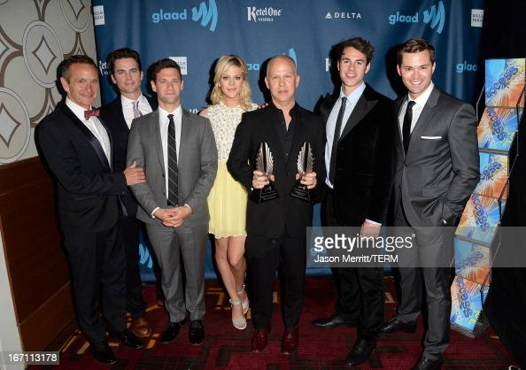 Producer Dante Di Loreto actors Matt Bomer Justin Bartha Georgia King creator Ryan Murphy actors Jayson Blair and Andrew Rannells pose backstage with...