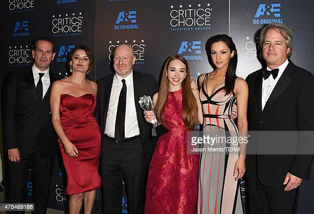 Producer Darryl Frank actress Alison Wright writerproducer Joe Weisberg actors Holly Taylor Annet Mahendru and producer Graham Yost pose with the...
