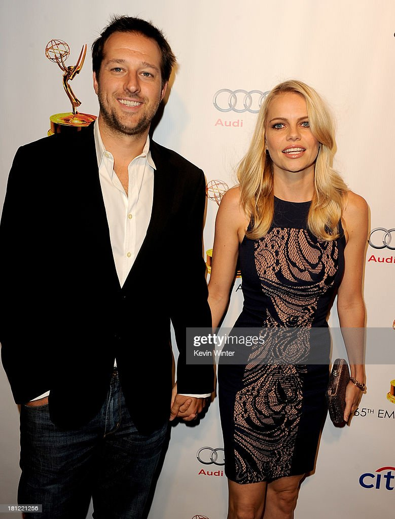 Producer Dave Andron (L) and actress Mircea Monroe arrive at the 65th Primetime Emmy Awards Writer Nominees reception at the Academy of Television Arts & Sciences on September 19, 2013 in No. Hollywood, California.