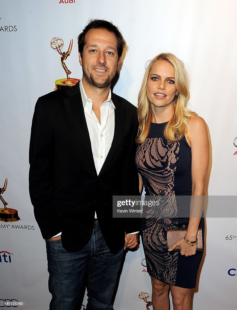 9: Producer Dave Andron (L) and actress Mircea Monroe arrive at the 65th Primetime Emmy Awards Writer Nominees reception at the Academy of Television Arts & Sciences on September 19, 2013 in No. Hollywood, California.