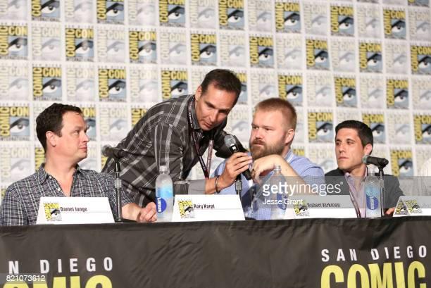 Producer David Alpert comic book writer Robert Kirkman and filmmaker Rory Karpf onstage during the Robert Kirkman's Secret History Of Comics panel at...