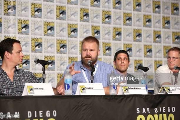 Producer David Alpert comic book writer Robert Kirkman filmmaker Rory Karpf and filmmaker Daniel Junge onstage during the Robert Kirkman's Secret...
