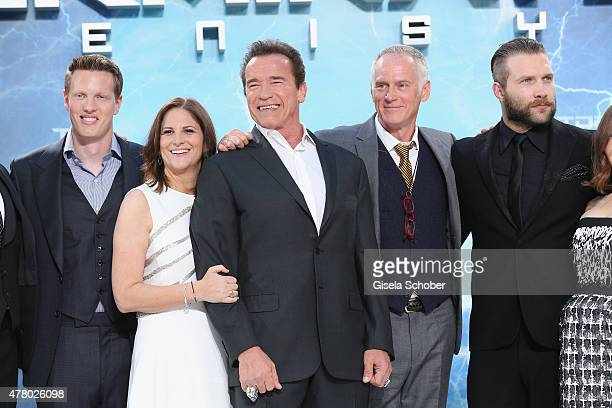 Producer David Ellison actor Arnold Schwarzenegger director Alan Taylor and actors Jai Courtney attend the European Premiere of 'Terminator Genisys'...