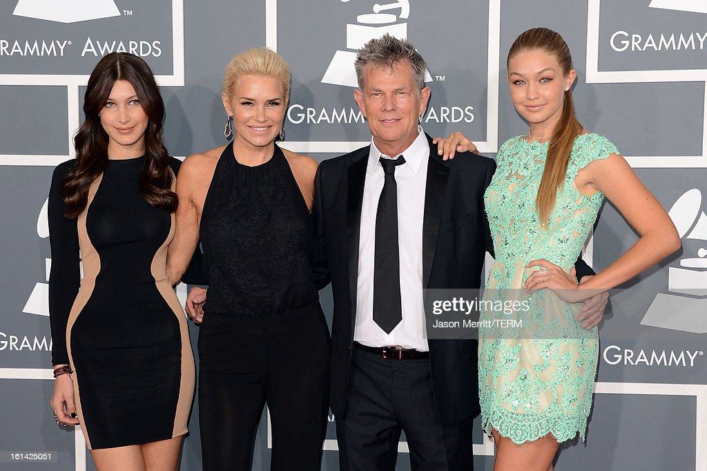 Producer David Foster (2nd from right) and Yolanda Foster (2nd from lef) and guests arrive at the 55th Annual GRAMMY Awards at Staples Center on February 10, 2013 in Los Angeles, California.