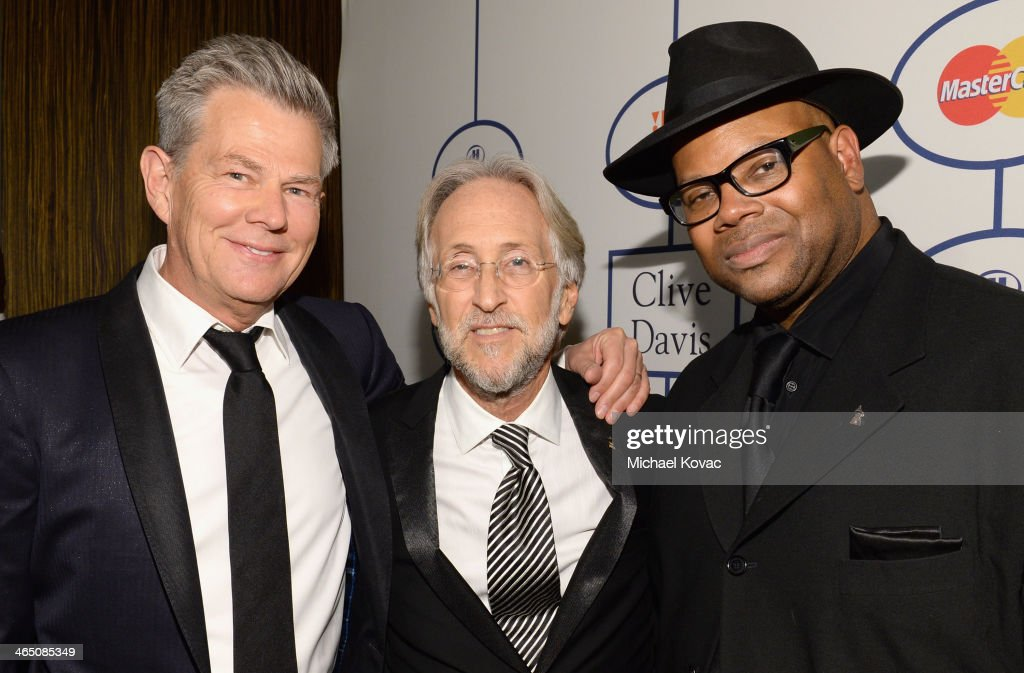 Producer David Foster Recording Academy President/CEO Neil Portnow and producer Jimmy Jam attend the 56th annual GRAMMY Awards PreGRAMMY Gala and...