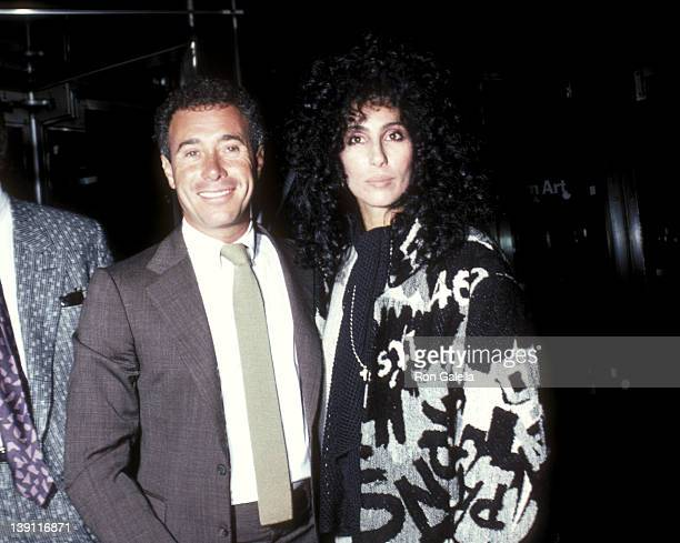 Producer David Geffen and singer/actress Cher attend the 'After Hours' New York City Premiere on September 11 1985 at the Museum of Modern Art in New...