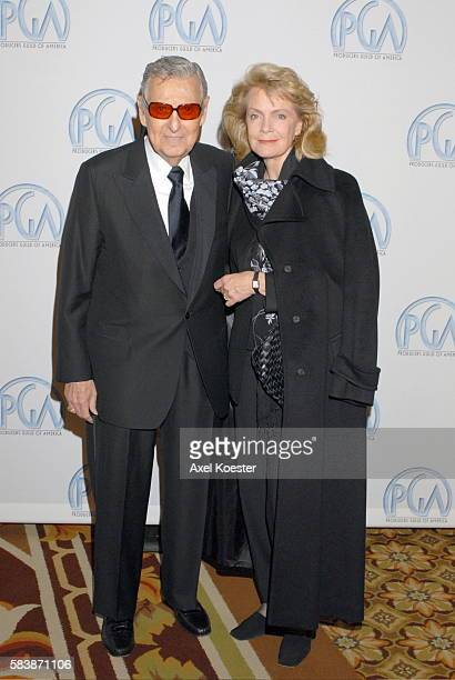 Producer David Gerber and wife Laraine Stephens arrive to the Producers Guild of Amercia Awards banquet at the Hyatt Regency Century Plaza Hotel in...