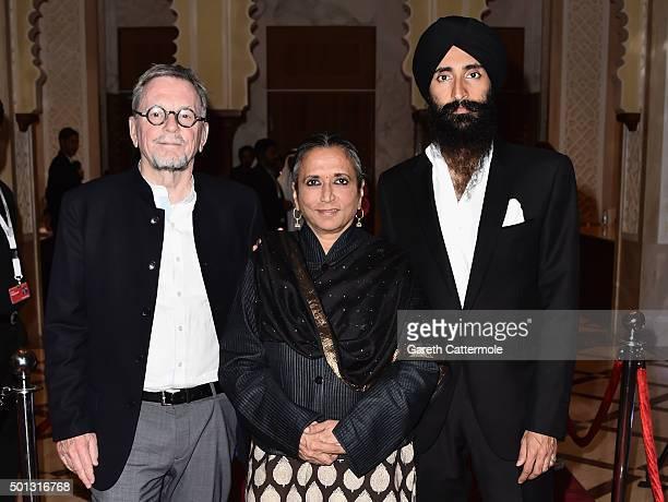 Producer David Hamilton director Deepa Mehta and actor Waris Ahluwalia attend the 'Beeba Boys' premiere during day six of the 12th annual Dubai...