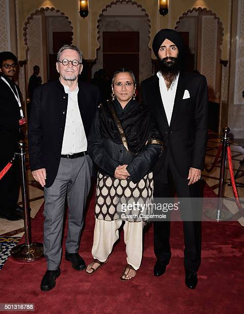 Producer David Hamilton director Deepa Mehta and actor Waris Ahluwalia attend the 'Beeba Boys' premiere during day six of the 12th annual Dubai...