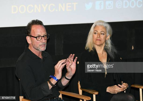 Producer David Heilbroner and director Kate Davis speak on stage after the DOC NYC Premiere of the HBO documentary film 'Traffic Stop' at IFC Center...