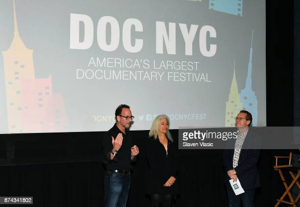 Producer David Heilbroner director Kate Davis and Artistic director of documentary festival DOC NYC Thom Powers speak on stage at DOC NYC Premiere of...