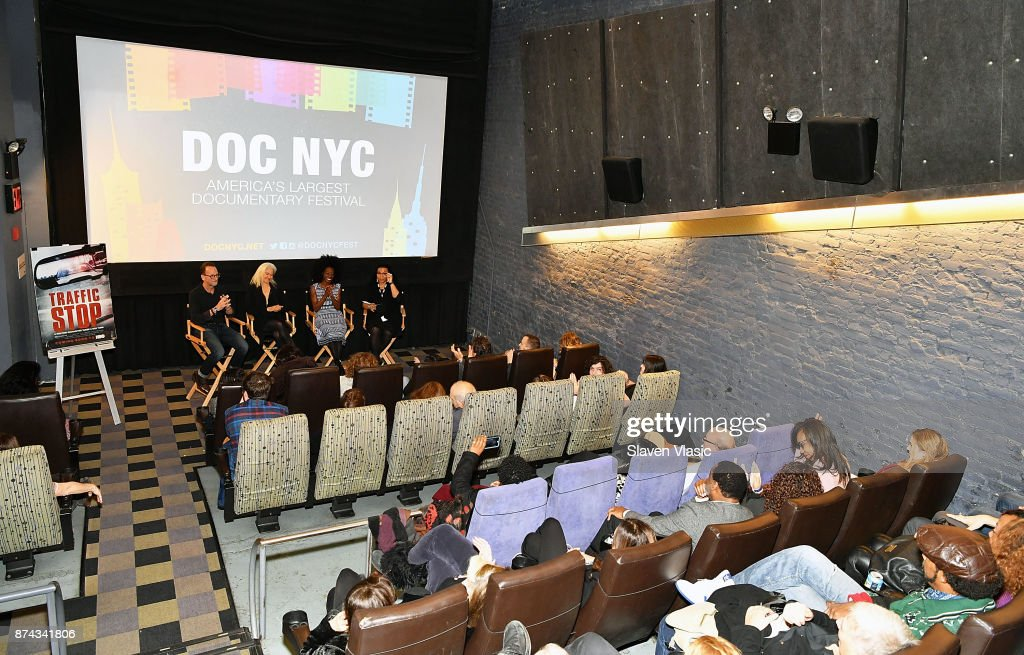 Producer David Heilbroner, director Kate Davis, subject of documentary Breaion King and moderator Opal Bennett speak on stage after the DOC NYC Premiere of the HBO documentary film 'Traffic Stop' at IFC Center on November 14, 2017 in New York City.