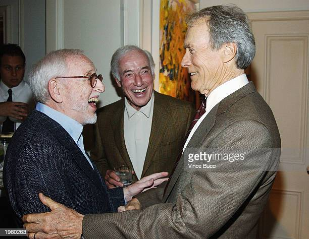 Producer David L Wolper greets actor Clint Eastwood at a reception for Wolper's bestselling memoir 'Producer' at the home of producer Bud Yorkin on...