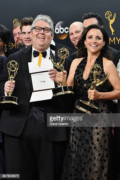 Producer David Mandel and actress Julia LouisDreyfus of 'Veep' winner of the Outstanding Comedy Series award pose in the press room during the 68th...