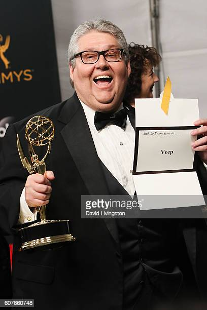 Producer David Mandel of 'Veep' winner of the Outstanding Comedy Series award poses in the 68th Annual Primetime Emmy Awards Press Room at the...