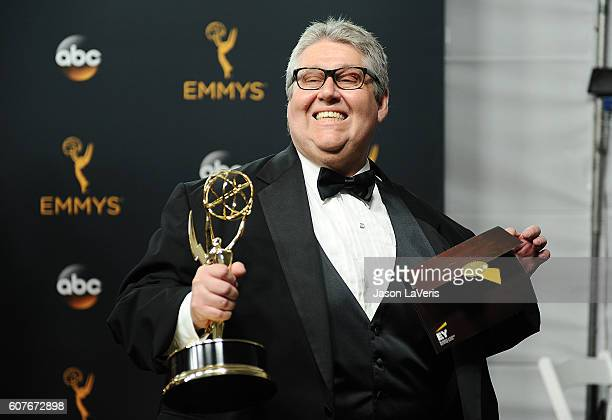 Producer David Mandel of 'Veep' winner of the Outstanding Comedy Series award poses in the press room at the 68th annual Primetime Emmy Awards at...