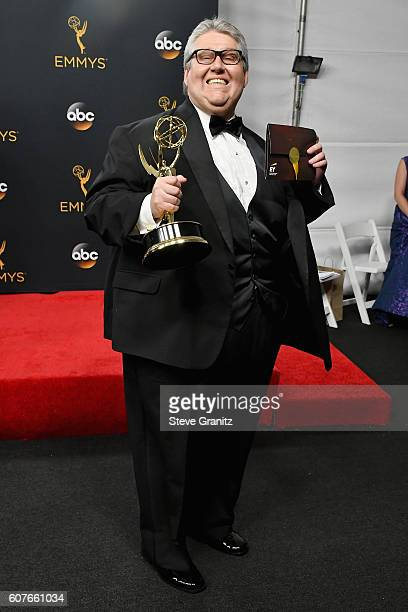 Producer David Mandel winner of the Oustanding Comedy Series award for 'Veep' poses in the press room during the 68th Annual Primetime Emmy Awards at...